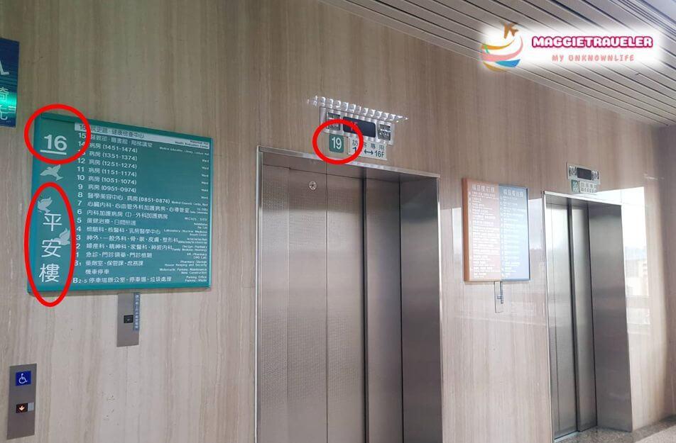 馬偕醫院平安樓電梯示意圖